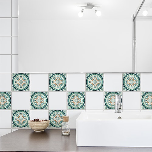 Stickers adhésif décoration Evora gris, vert et marron pour carrelage d'intérieur de salle de bain