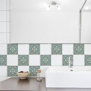 Sticker adhésif Evora gris et vert pour carrelage de salle de bain moderne