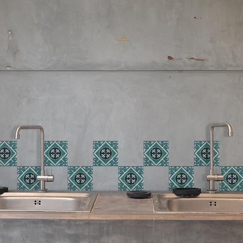 Autocollant bleu et vert Evora décoration d'intérieur de carrelage en béton gris de cuisine