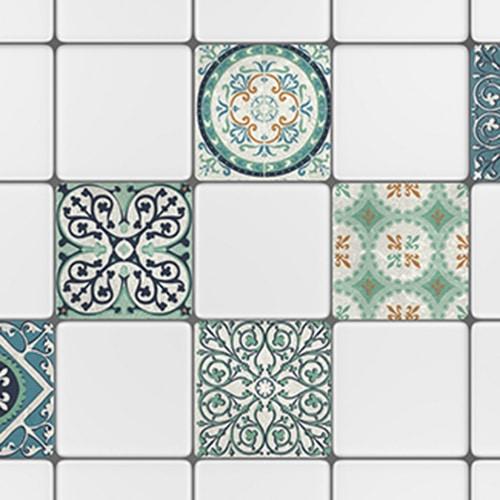 Stickers autocollant déco carrelage Evora bleu et vert de cuisine