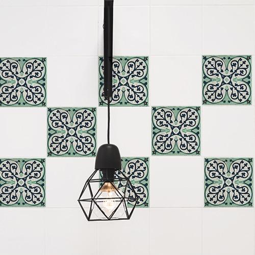 Stickers adhésif décorations pour carrelage Evora gris et vert