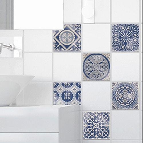 Stickers adhésif pour déco carrelage Antico Tomar bleu de salle de bain