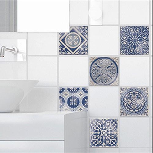 Stickers adhésif déco carrelage Antico Tomar bleu pour salle de bain