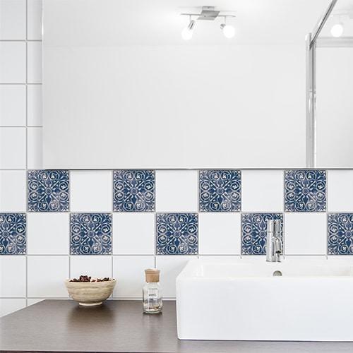 Stickers autocollant bleu Antico Tomar déco de carrelage blanc de salle de bain