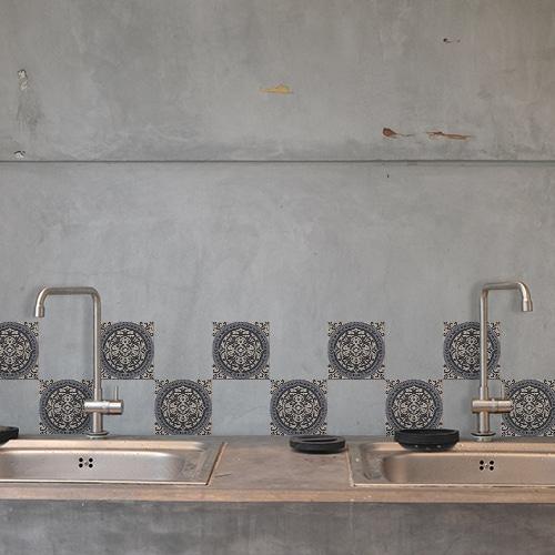 Autocollant Brescia gris déco pour carrelage en béton gris de cuisine