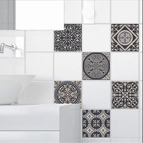Stickers autocollant déco pour carrelage Brescia gris de salle de bain