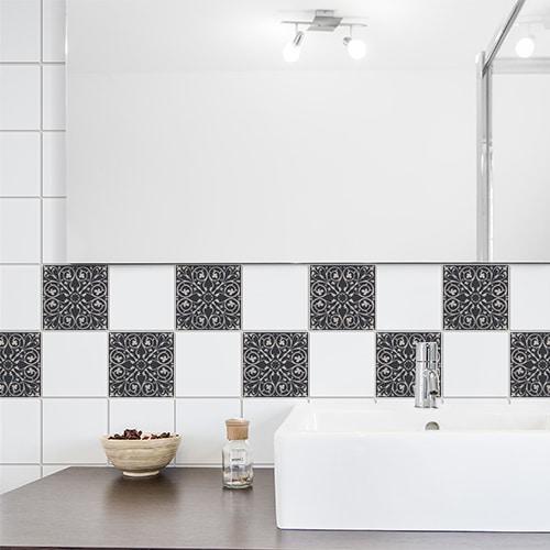 Stickers déco adhésif pour carrelage Brescia gris de salle de bain moderne
