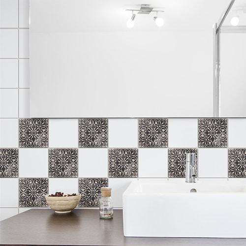 Autocollant déco carrelage gris Brescia pour salle de bain moderne