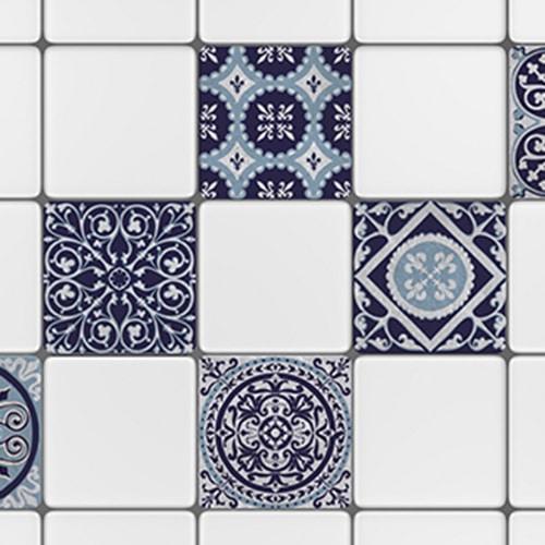 Sticker déco carrelage mural Monza bleu et blanc