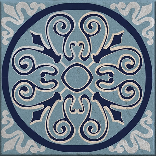 Stickers adhésif décoration de carrelage Monza bleu