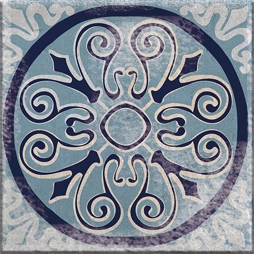 Stickers bleu adhésif décoration Antico Monza pour carrelage