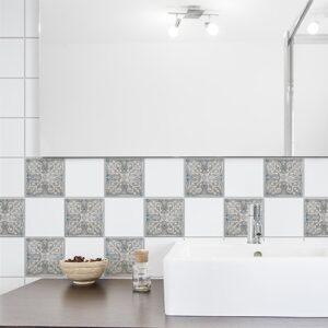 Adhésif décoration Antico Elvas beige et bleu pour carrelage de salle de bain moderne