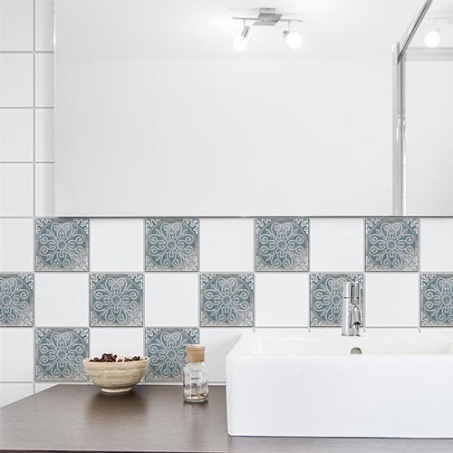 Autocollant Antico Elvas beige et bleu déco pour carrelage de salle de bain moderne