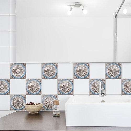 Adhésif décoration pour carrelage Antico Baixa beige, marron et bleu de salle de bain moderne