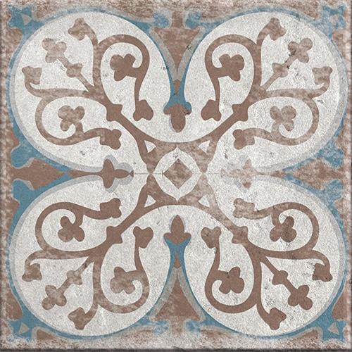 Stickers adhésif déco beige, marron et bleu pour carrelage Antico Baixa