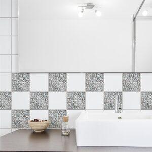 Autocollant déco Antico Baixa bleu, marron et beige pour carrelage de salle de bain moderne