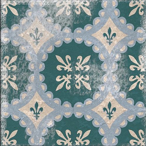 Stickers adhésif vert et bleu Antico Forli déco pour carrelage