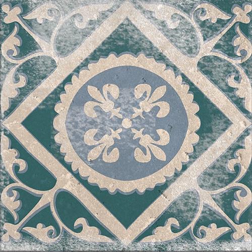 Stickers adhésif Antico Forli décoration vert et bleu de carrelage