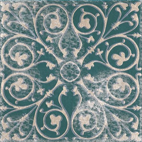 Stickers adhésif décoration pour carrelage Antico Forli vert et bleu