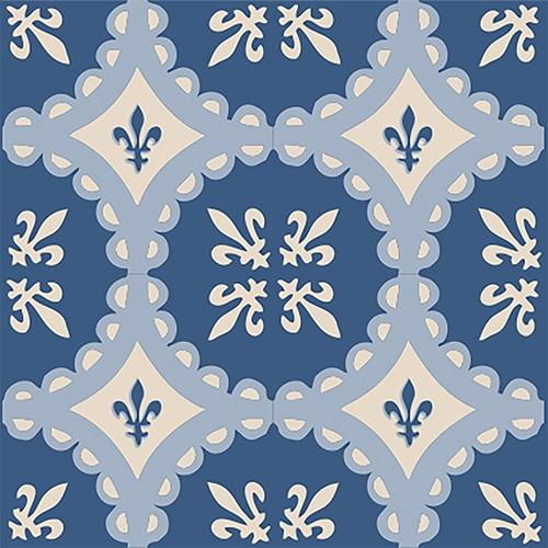 Sticker adhésif imitation ciment bleu et beige pour carrelage mural