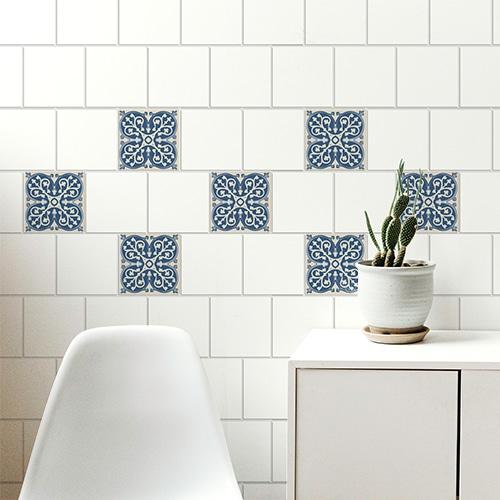 Sticker autocollant ciment bleu et beige pour carrelage déco de salon