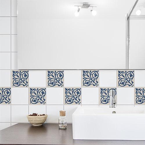 Sticker ciment bleu et beige pour évier de salle de bain déco pour carrelage