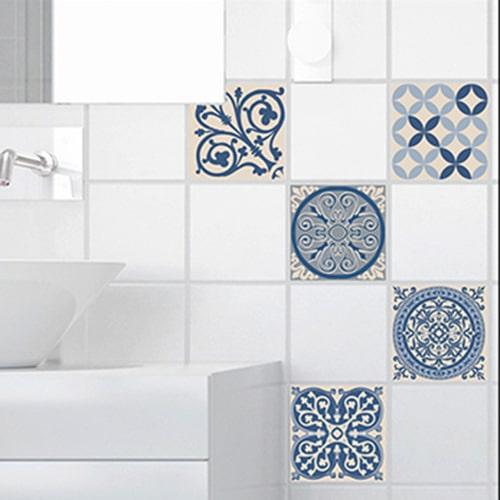 Sticker ciment bleu et beige déco pour carrelage de salle de bain