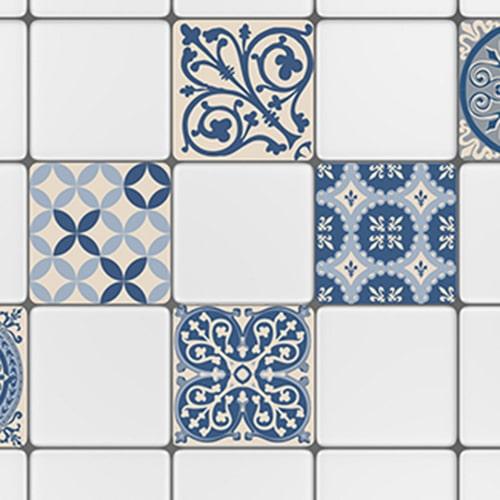 Sticker adhésif ciment bleu et beige déco pour carrelage mural