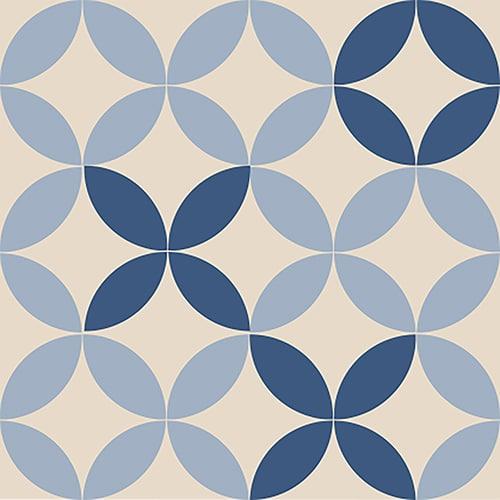Sticker autocollant de couleur bleu et beige en imitation ciment pour carrelage mural