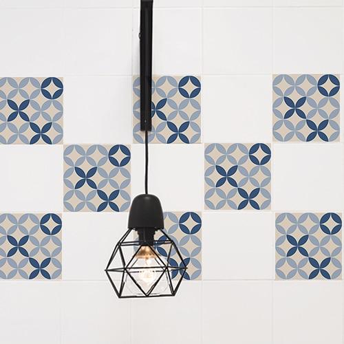 Autocollant décoration ciment bleu et beige pour carrelage mural de cuisine blanche