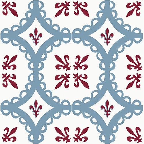Sticker autocollant décoration d'intérieur imitation ciment rouge et bleu pour carrelage
