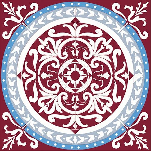 sticker adhésif décoratif imitation ciment rouge et bleu pour carrelage mural