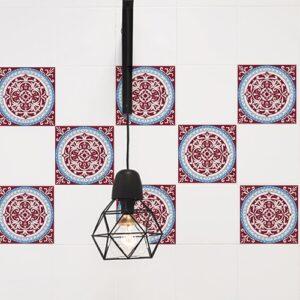 Adhésif ciment rouge et bleu décoration pour carreaux de cuisine