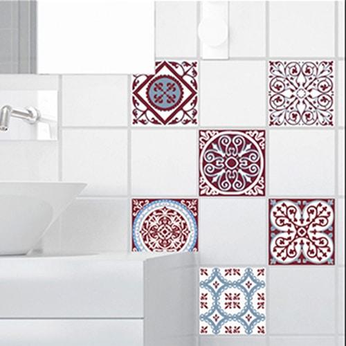 Stickers ciment rouge et bleu déco pour carrelage de salle de bain