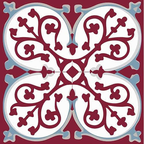 Sticker adhésif collection imitation ciment rouge et bleu pour carrelage