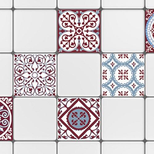 Sticker adhésif cimenr rouge et bleu déco pour carrelage mural