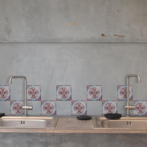 Sticker adhésif au dessus d'un évier déco pour carrelage Antico Marvao