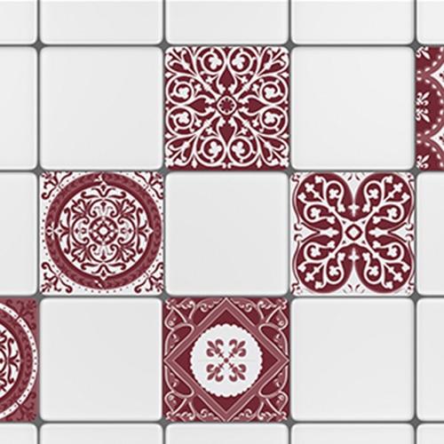 Adhésif sticker déco ciment rouge pour carreaux de carrelage blanc de cuisine