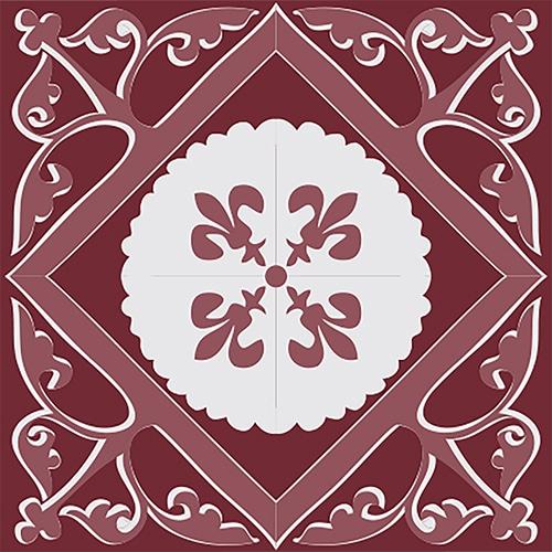 Sticker adhésif décoration ciment rouge pour carrelage mural