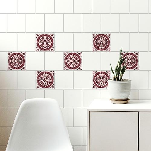 Sticker adhésif ciment rouge déco pour carrelage de salon
