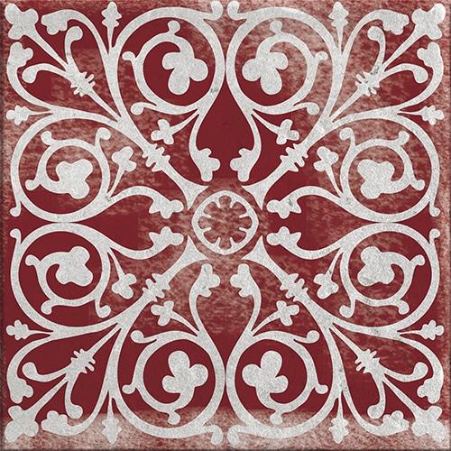 Sticker adhésif rouge motif Antico Olhao pour carrelage