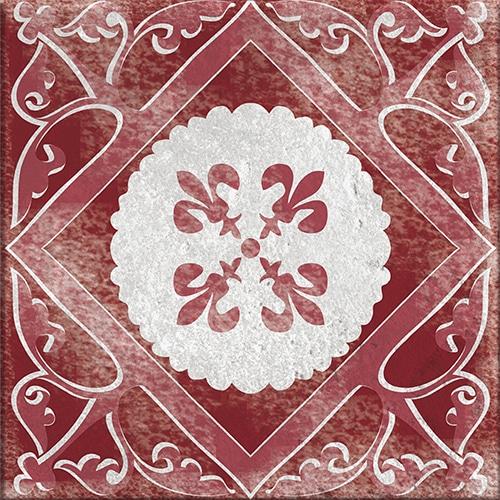 Sticker adhésif rouge et gris décoratif Antico Olhao pour carrelage intérieur