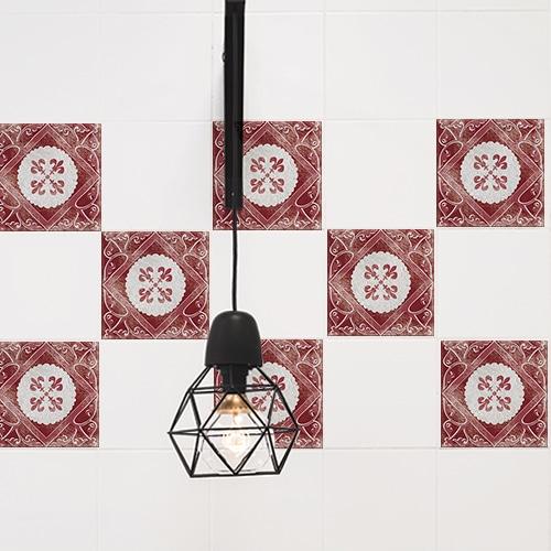 Adhésif pour carrelage de cuisine rouge et gris décoratif Antico Olhao