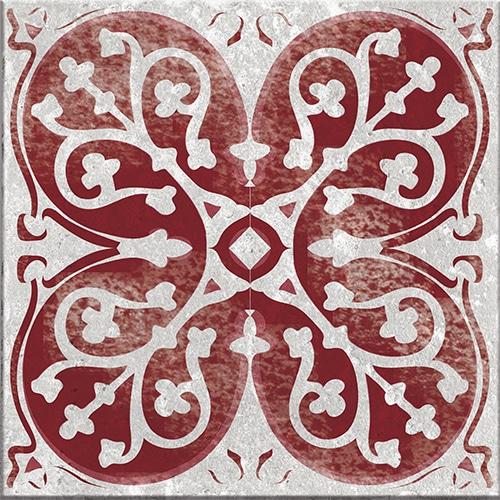 Sticker autocollant gris et rouge collection Antico Olhao pour carrelage mural
