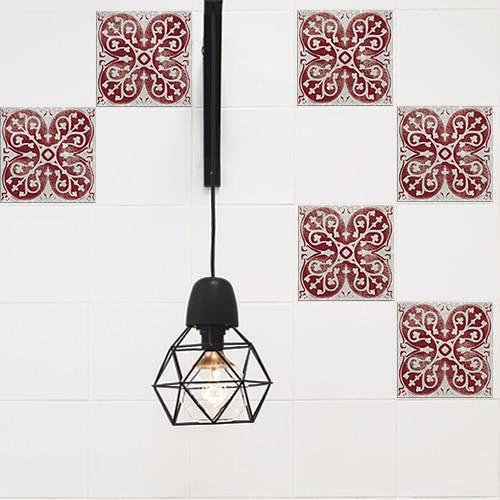 Autocollant déco Antico Olhao rouge et gris pour carreaux blanc de cuisine