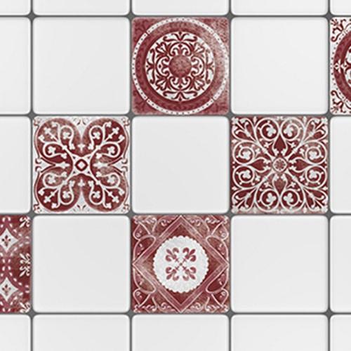 Adhésif sticker déco gris et rouge Antico Olhao pour carreaux de cuisine blanc