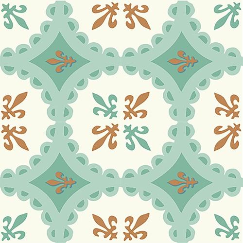 Sticker autocollant imitation ciment vert et orange pour décoration intérieure de carrelage