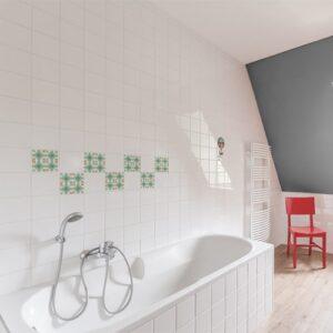Autocollant décoration ciment vert et orange pour carrelage de salle de bain avec baignoire