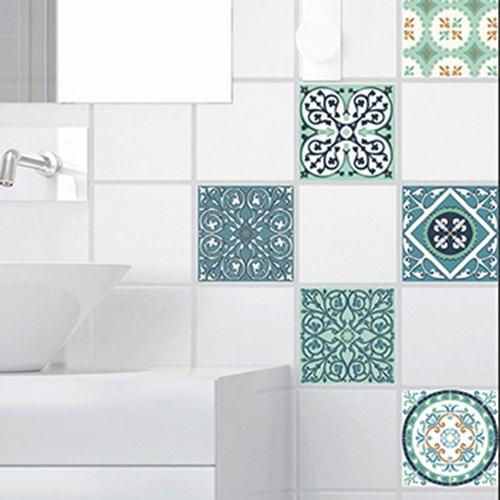 Adhésif sticker déco pour carrelage imitation ciment vert et orange de salle de bain moderne