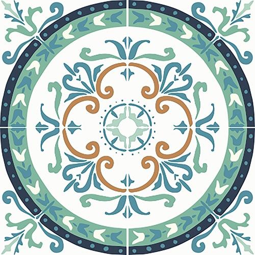 sticker adhésif déco intérieure vert et orange pour carrelage